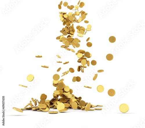 Fotografía  Falling golden coins isolated