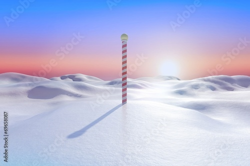 Poster Rose clair / pale Snowy land scape with pole