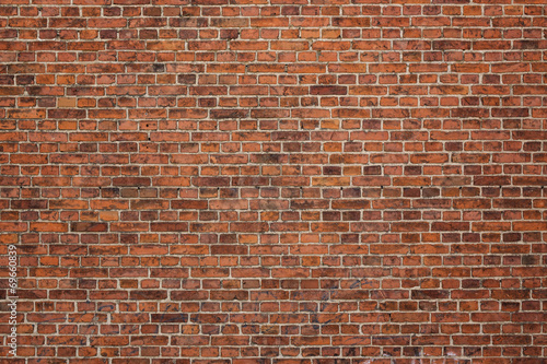 Deurstickers Baksteen muur Grunge red brick wall background with copy space