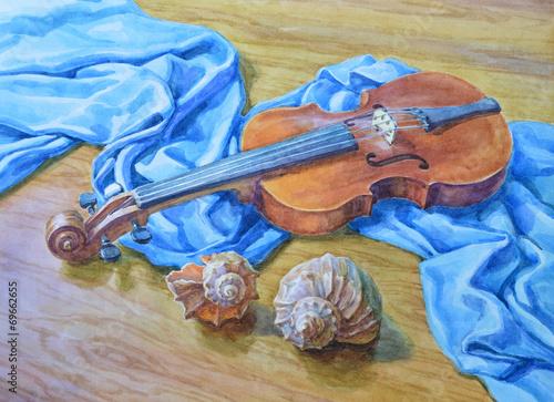 skrzypce-i-muszelki-malowane-akwarela