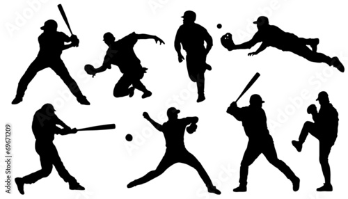 baseball sihouettes Wallpaper Mural
