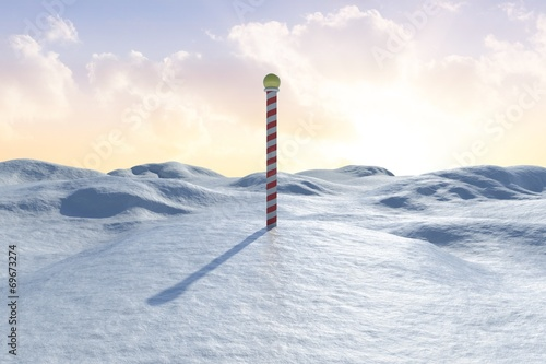In de dag Poolcirkel Snowy land scape with pole
