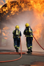 Fire Fighters At Large Fire