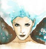 illustration depicting a woman abstrakcyjnyportret - 69677063