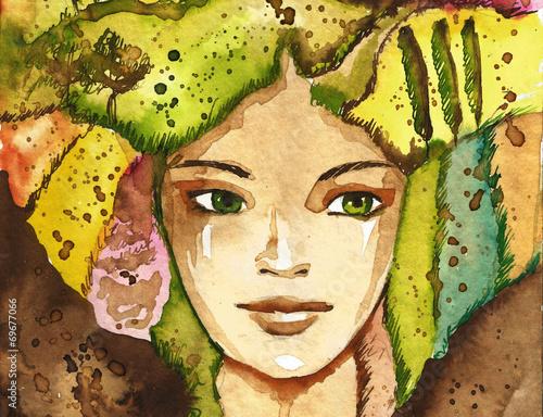 Fototapeta Dziewczyna w zieleni