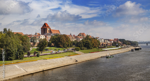 City on the water Panoramic view of old town in Torun, Poland.