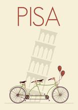 Pisa Italian Retro Poster