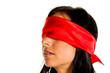 canvas print picture - Frau mit verbundenen Augen