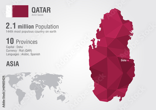 Qatar world map with a pixel diamond texture. - Buy this stock ...