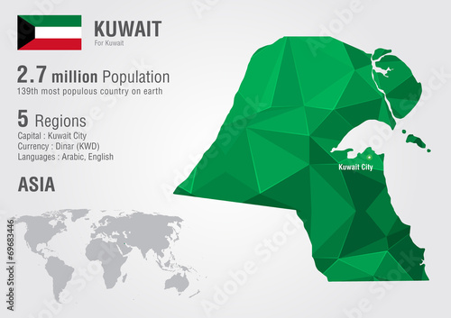 Kuwait world map with a pixel diamond texture. - Buy this stock ...
