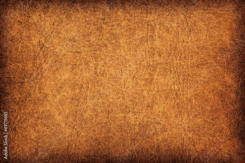 Old Brown Leather Creased Mottled Vignette Grunge Texture