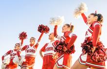 Group Of Cheerleaders In Actio...