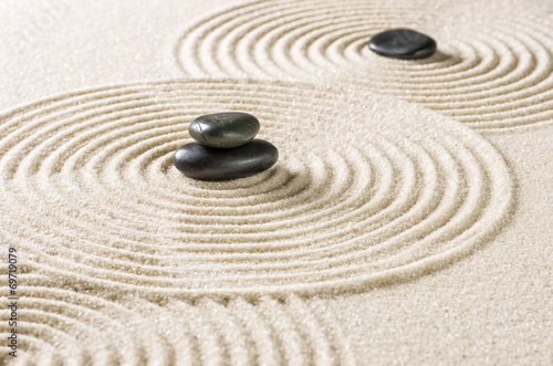Foto op Canvas Zen Zengarten mit schwarzen Steinen