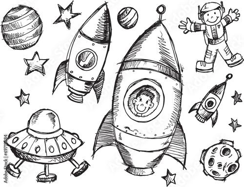Türaufkleber Cartoon draw Outer Space Sketch Doodle Vector Set