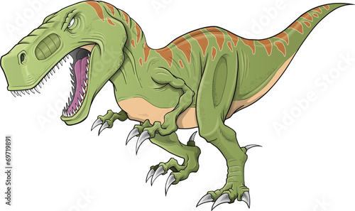 Canvas Prints Cartoon draw Tyrannosaurus Dinosaur Vector Illustration Art