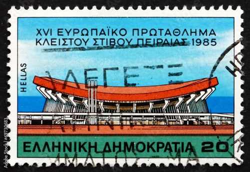 Spoed Foto op Canvas Stadion Postage stamp Greece 1985 The Peace and Friendship Stadium