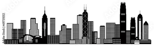 fototapeta na szkło Hong Kong City Skyline Black and White Vector Illustration