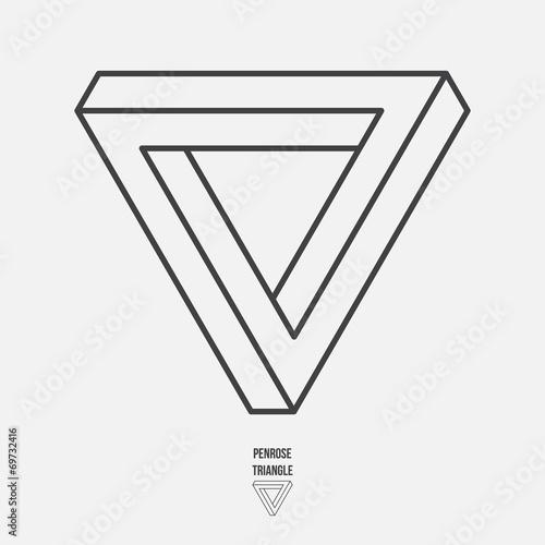 Fotografie, Obraz  Penrose triangle, line design, vector illustration