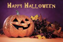 Happy Halloween Orange Glitter...