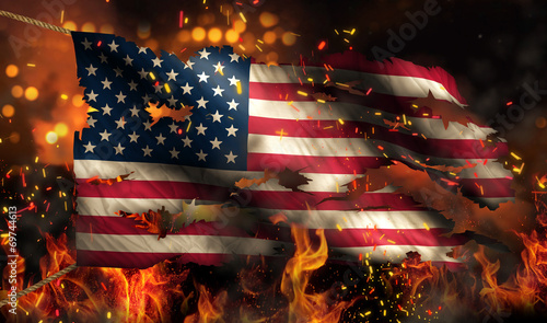 Photo USA America Burning Fire Flag War Conflict Night 3D