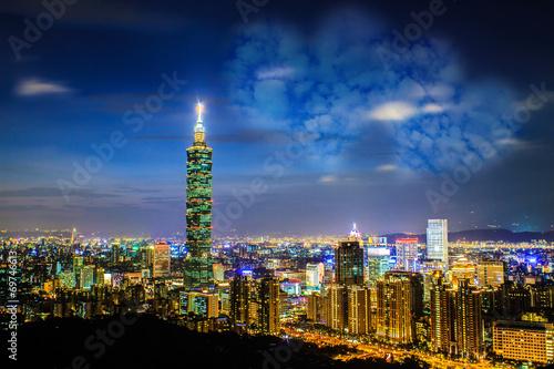 Taipei, Taiwan evening skyline. Canvas Print