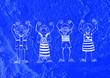 Leinwandbild Motiv cartoon teenagers on Cement wall Background texture