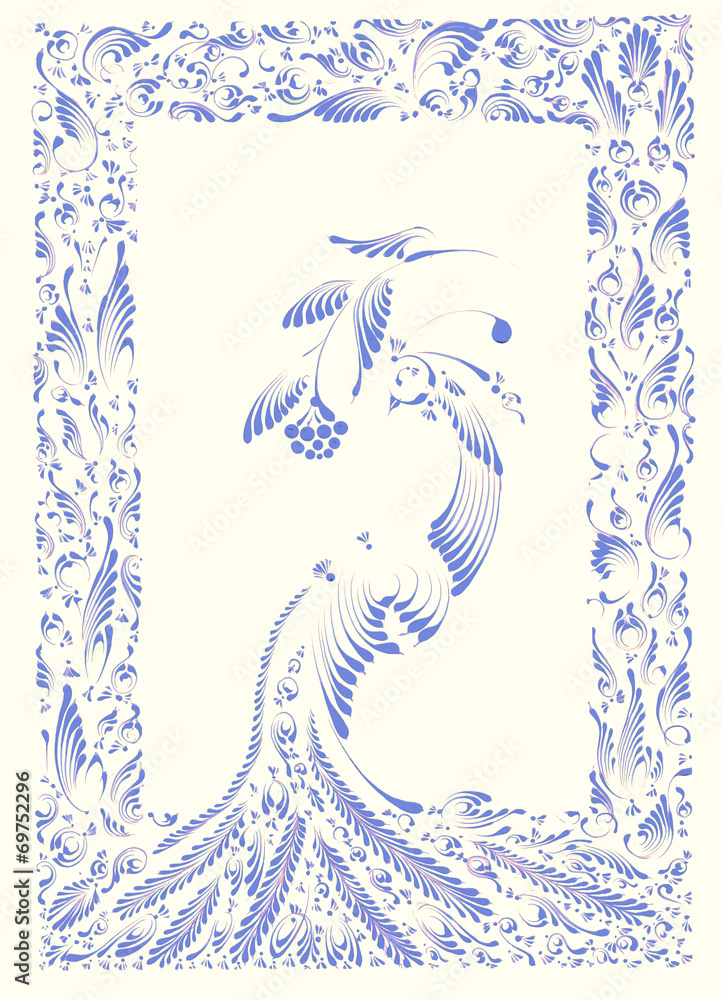 POSTCARD WITH BLUE FOLKLORE PATTERN