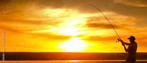 Acrylic Prints Fishing Fisherman