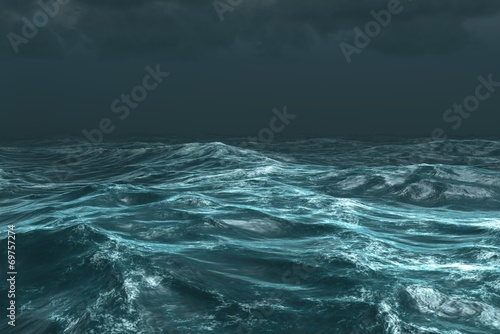 Fototapeta Rough stormy ocean under dark sky