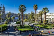 Main Plaza In Arequipa, Peru.