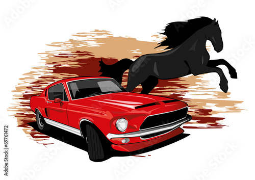 Mustang Car Horse drawing Wallpaper Mural
