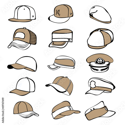 cap set isolated on white hat icon vector baseball rap Poster