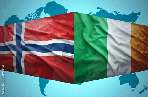 Waving Norwegian and Irish flags Poster