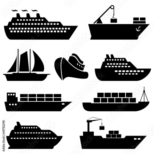 Fotografie, Obraz  Ships, boats, cargo, logistics and shipping icons