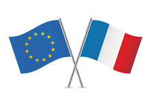European Union And French Flags. Vector Illustration.