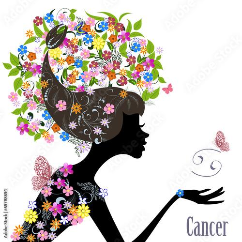 Fototapety, obrazy: Zodiac sign cancer. fashion girl