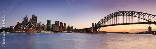 Fotobehang Bruggen Sydney CBD from Kirribilli Set Panor