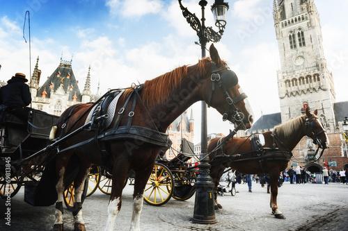 Deurstickers Brugge Horse-drawn carriages in Bruges, Belgium