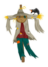 Cartoon Illustration Of A Scarecrow Isolated On White