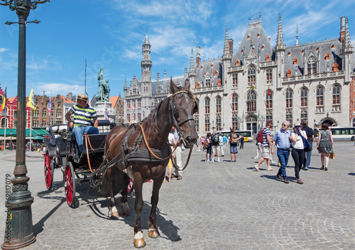 Fototapety, obrazy: Bruges - The Carriage on the Grote Markt square