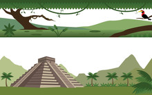 Set Of Rain Forest  River And Aztec Pyramid Landscape