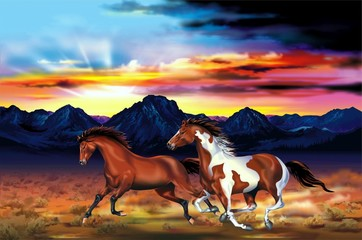 Fototapeta na wymiar Wild Horses Run Illustration