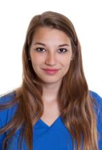 Passbild Einer Blonden Frau Im Blauen Shitrt