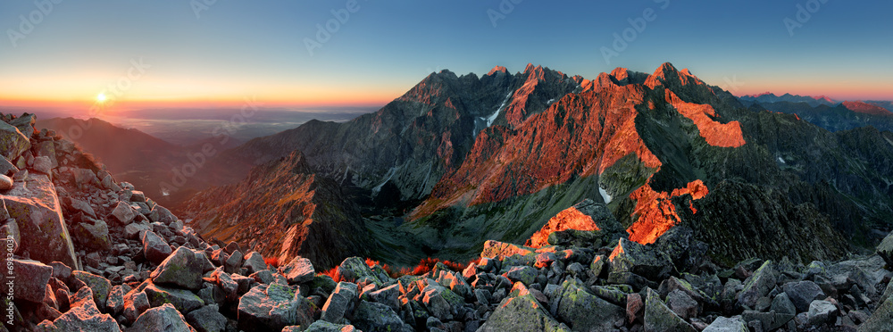 Fototapeta Mountain sunset panorama from peak - Slovakia Tatras