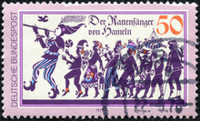 Stamp Printed In The Germany Shows Pied Piper Of Hamelin