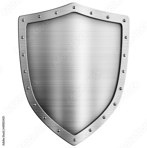Valokuvatapetti golden metal shield isolated on white
