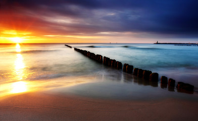 Fototapeta Do jadalni Baltic sea in Poland beach.