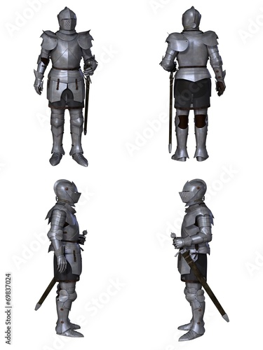 Medieval Knight Fantasy Character Set (Milanese) Poster