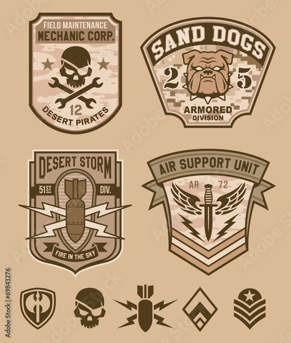 Desert Military Emblem Patch Set Buy This Stock Vector And Explore