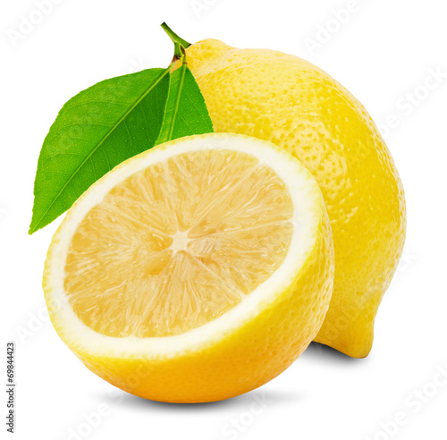 Fotografia juicy lemons isolated on the white background